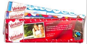 Chocolade reep met tekst en een foto voor Valentijn- Trouwteam
